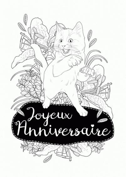 Cartes postales en ligne coloriage animaux - Joyeux anniversaire a colorier ...