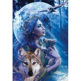 Poster Affiche Animaux Loups Chouette Lune