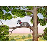 Poster Affiche Animaux Chien Whippet Arbre