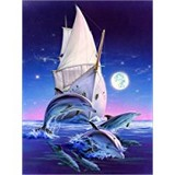 Poster Affiche Animaux Dauphins Bateau