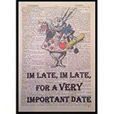 Poster Affiche Animaux Lapin blanc Alice Dictionnaire
