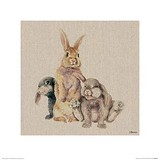 Poster Affiche Animaux Lapins Famille