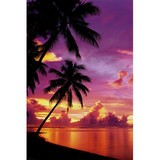 Poster Affiche Nature Plage Tahiti Coucher Soleil