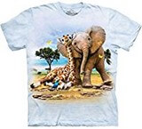 T-shirts Animaux sauvages Eléphant Girafe
