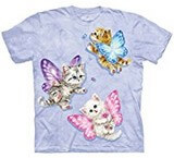 T-shirts Animaux Chat Papillons