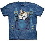 T-shirts Animaux Chat poche