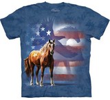 T-shirts Animaux Cheval Drapeau USA
