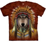 T-shirts Animaux sauvages Loup Chef Indien