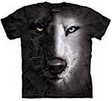 T-shirts Animaux sauvages Loup noir blanc