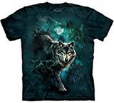 T-shirts Animaux sauvages Loup noir Lune