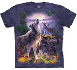 T-shirts Animaux sauvages Loups Lune Automne