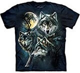 T-shirts Animaux sauvages Loups Pleine lune